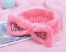 Новинка, ободок с бантиком из кораллового флиса с надписью OMG для женщин и девочек, держатели головных уборов, резинки для волос в виде тюрба...(Китай)