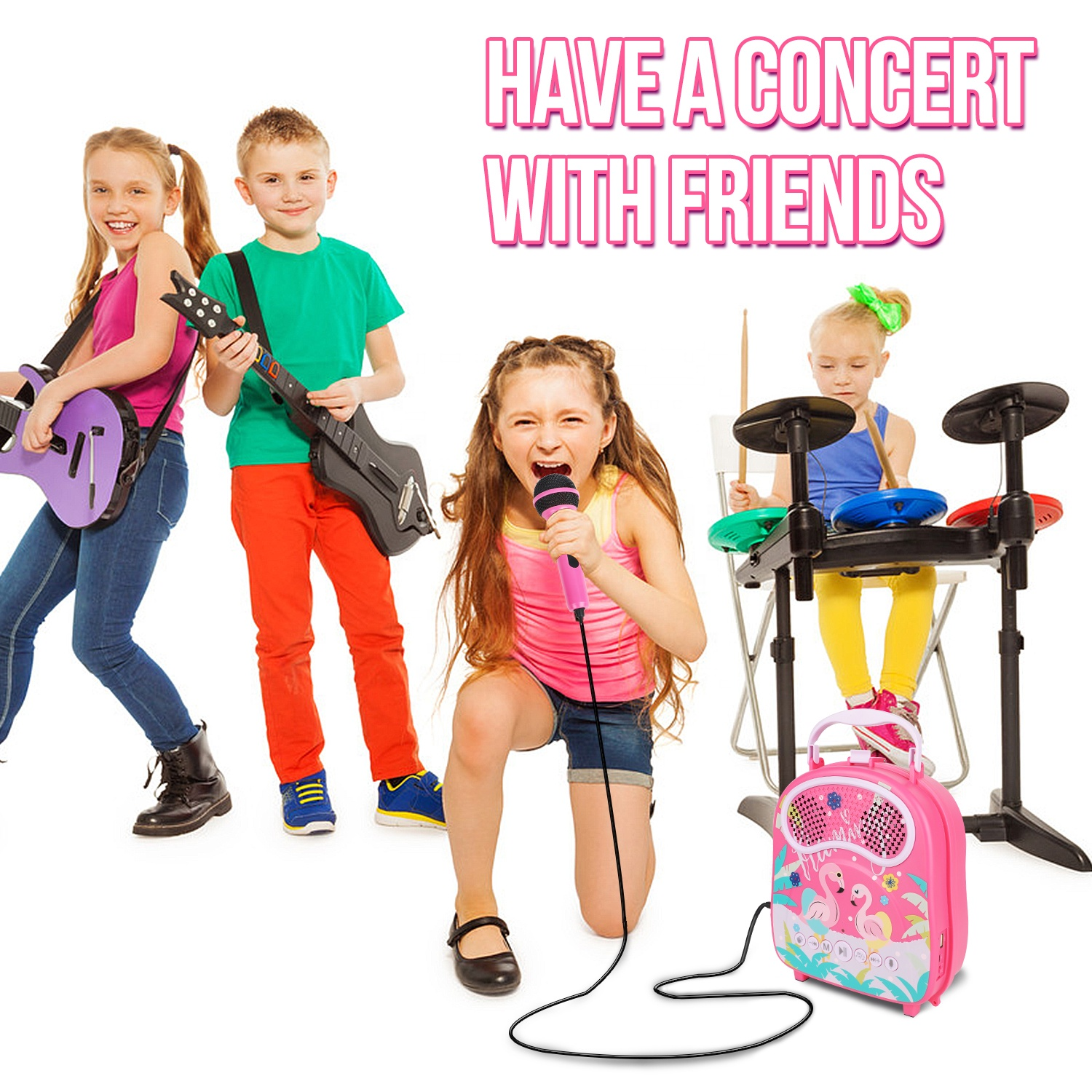 Girls musical instrument Toys Music Player with Microphone, Kids Karaoke Machine