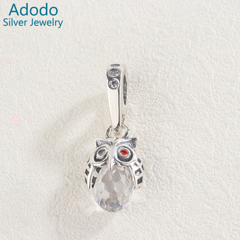 Women Jewelry 925 Sterling Silver Big Natural Zircon Animal Owl Pendant