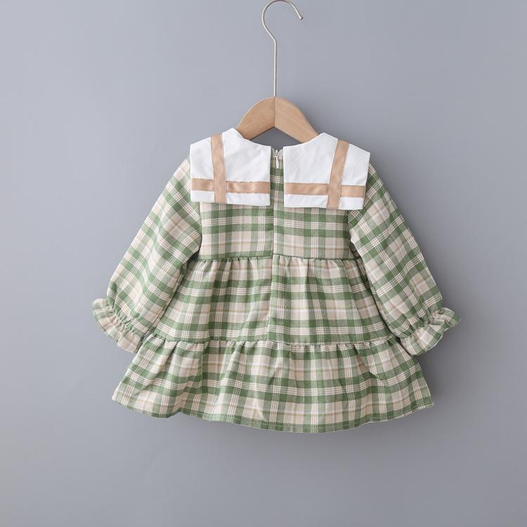 KBEe94036, оптовая продажа, детская одежда, платье для маленьких девочек, для колледжа, для кукол, корейское зимнее плотное платье в клетку с бантом