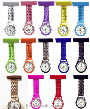 Mix 14colors Nurse Fob Watch Brooches Tunic Quartz Silicone Nurse Watch
