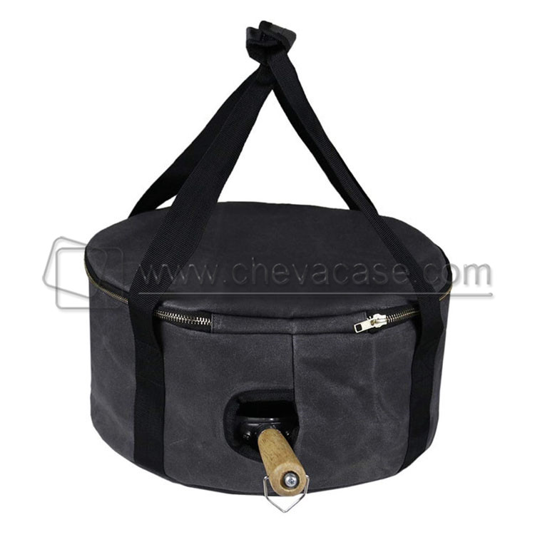 Factory Custom Portable 12 Inch Thick Canvas Camping Dutch Pot Carry Bag