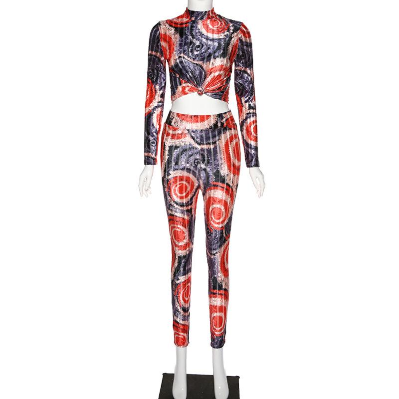 HAOYUAN, Бархатный спортивный костюм для фитнеса, женские одинаковые комплекты, весна 2020, короткий топ с длинным рукавом и штаны, спортивный кос...(Китай)
