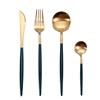 Dark Green Gold Set(4pcs:knife,fork,spoon,teaspoon)
