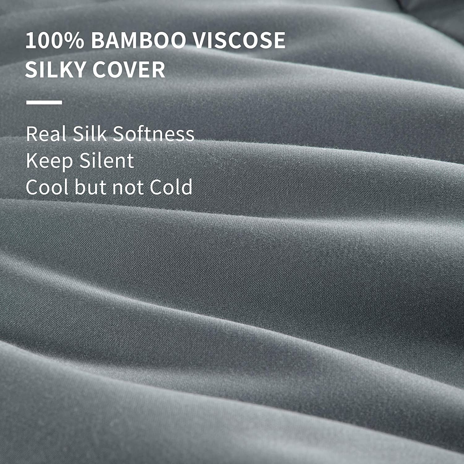 Lightweight Bamboo Comforter Queen Size Filled Bamboo Fiber with 100% Bamboo Fabric Shell for All Season