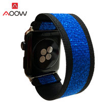 Эластичный ремешок для Apple Watch 4, 5, 38, 42, 40, 44 мм, Леопардовый женский ремешок, ремешок для часов iwatch 12, 3, синий(Китай)