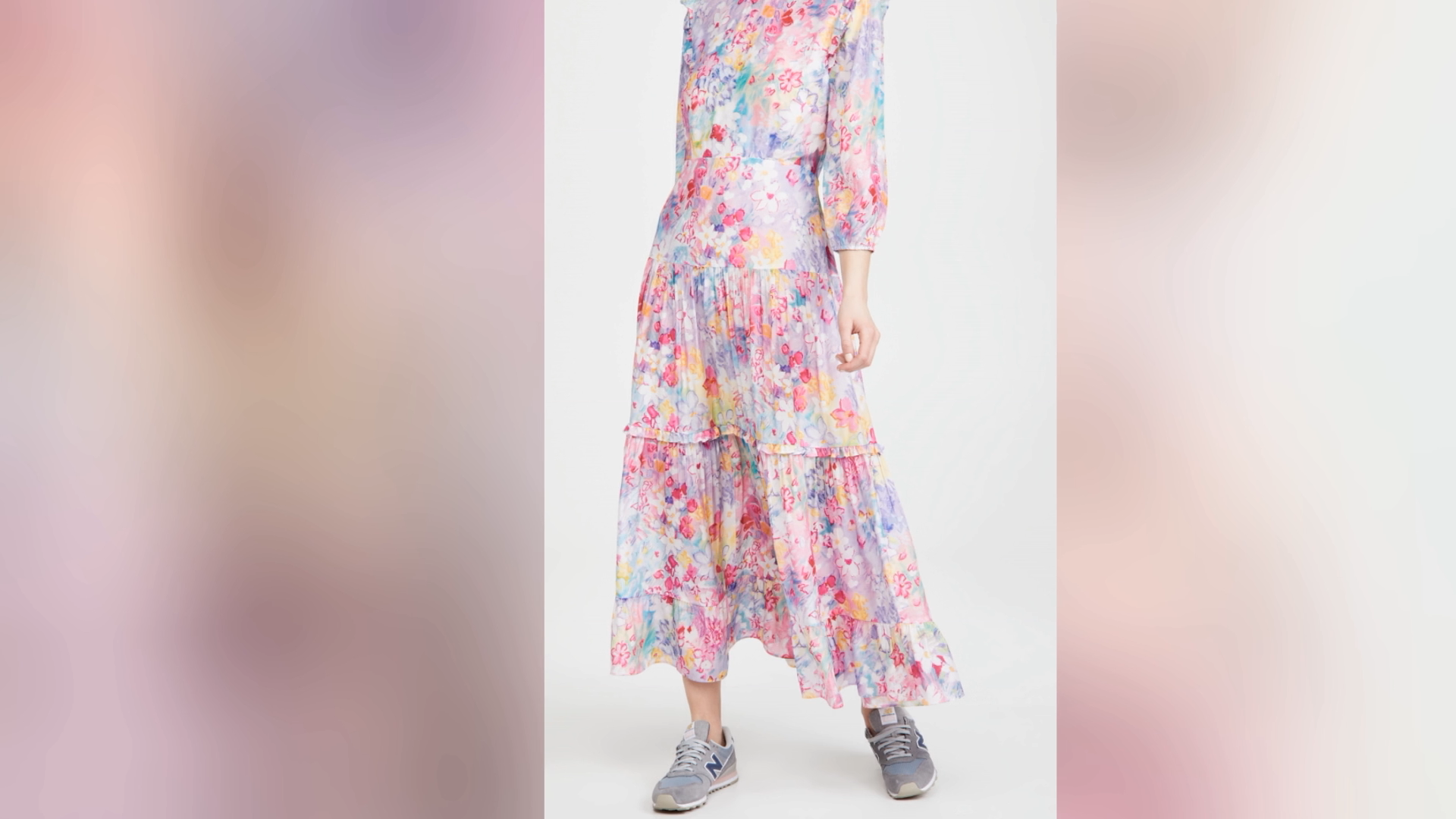 OEM 2021 stylish new arrival spring long sleeves layer plait floral print skirt Watercolor women casual long dress
