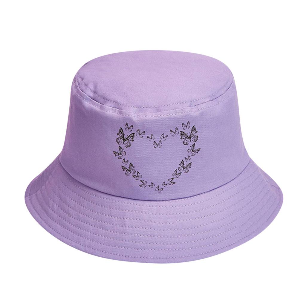 Unisex Bucket Hat Fisherman Hat Purple Love Butterfly Cotton Protectivet Sun Cap Dustproof Cover Bucket Hats Sunscreen Cap Women S Bucket Hats Aliexpress