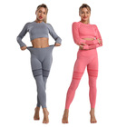Suit Yoga 2 Piece Set Hollow Mesh Sportswear Top Running Fitness Suit Women's Tights