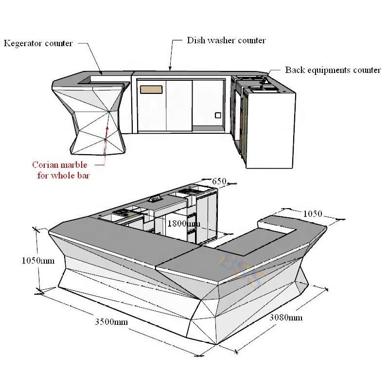 U-образная скамейка, Белая Мраморная Современная барная стойка для ресторана