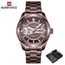 Naviforce новые модные синие кварцевые часы из нержавеющей стали для мужчин, мужские спортивные Бизнес водонепроницаемые часы Relogio Masculino(Китай)