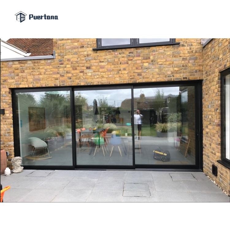 Алюминиевые двойные стеклянные раздвижные двери для внутреннего дворика Slimline