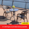 2 Teslin double leg chair 1 glass round table top D60cm