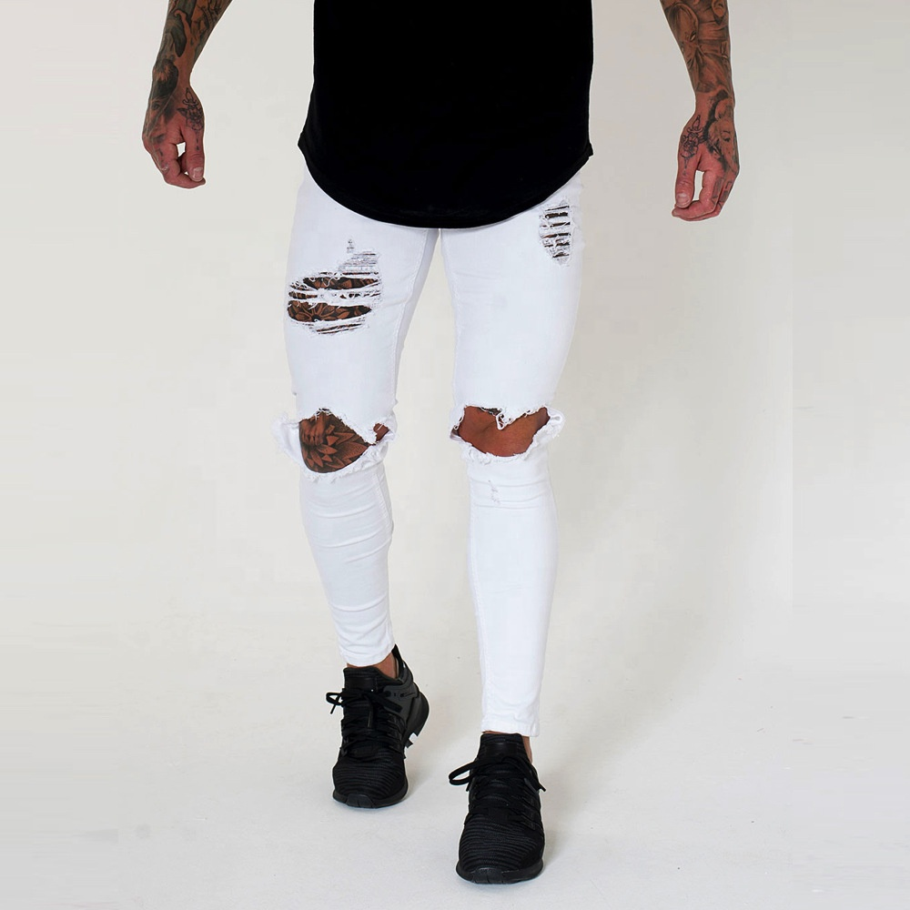 Multi-Colors Jeans Pants Top Quality mens jeans Skinny Slim Ripped Distressed Wear Denim Fashion Skinny Jeans Man