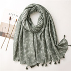New Fancy Wholesale High Quality Ladies Plain Cotton Scarves Shawls Stoles Breathable Olive Green Floral Print Scarf Tassels
