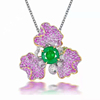 18k gold 3.37ct natural emerald ring and pendant and brooch
