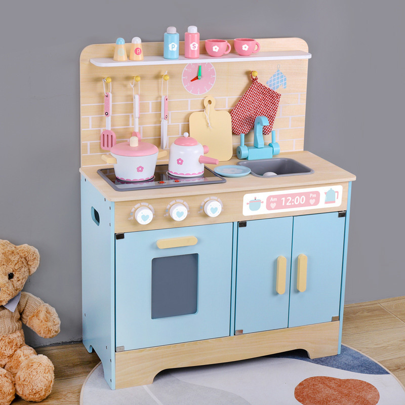 2022 Best Toys Gifts Wooden Pretend Play Kitchen Set with Cookware Accessories
