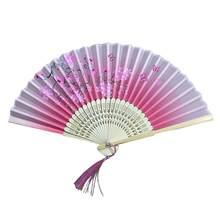 Летние винтажные бамбуковые складные веер с цветами ручной работы, вечерние китайские карманные подарки на свадьбу, цветной дропшиппинг(Китай)