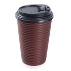 Ripple Paper Custom Printed Disposable Corrugated Ripple Paper Cup With Lids