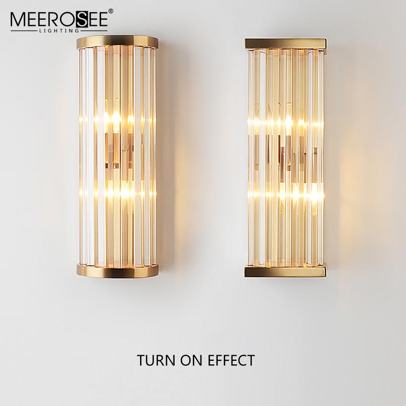 MEEROSEE  Modern Decoration Iron Crystal Wall Light Golden Color Indoor Wall Sconces Bathroom  Wall Lamp MD86731