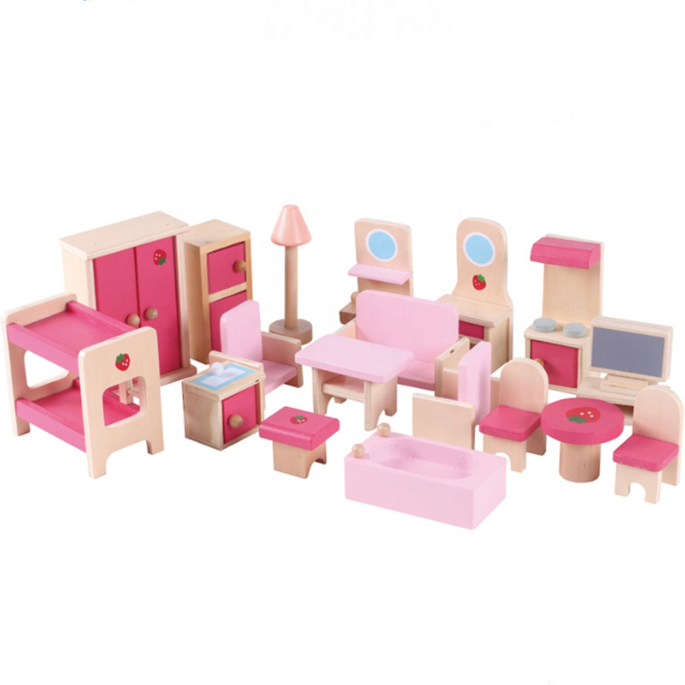 2021 Wholesale Lovely Delicate Wooden Miniature Doll House Furniture Toy for Baby