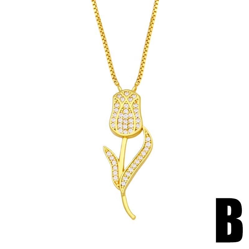 Fashion Women Jewelry  Heart lock flower Necklace Custom Stainless Steel 18k Gold  Necklace