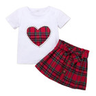 Kids Clothing Set New Girls Pearls Love Pattern White Tops + Red Plaid Skirt Branded Stylish Childrens Valentines Clothes