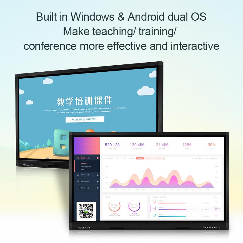 65 inch 4k classroom interactive smart board screen flat panel interactive multi digital IR electronic LCD touch screen