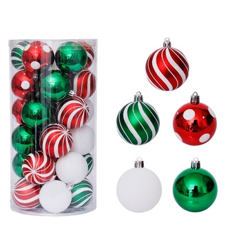Amazon Factory Customized Fireproof Plastic Ball Ornaments 6 cm Red and Green Christmas tree Decoration Shiny Christmas Ball