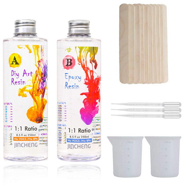 Clear Epoxy Resin Kit Resin Kits For Beginners - 2 part 17 Oz (500ml) Clear Resin Starter Kit and Hardener