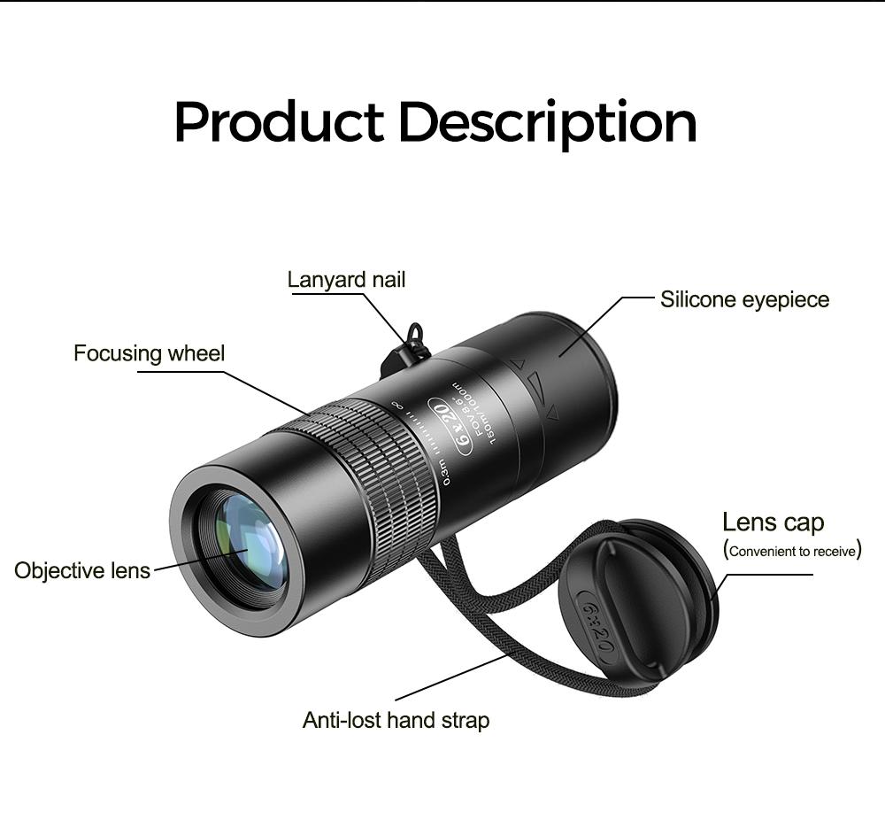 Apexel 2021 New Mold 6X Monocular Mini Pocket Extra Short Focus Monocular Telescope Lens for Observation