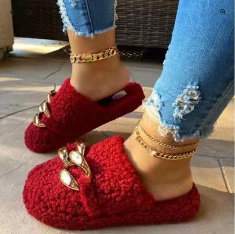 Новые модные женские домашние тапочки, плюшевые меховые зимние теплые тапочки, сланцы