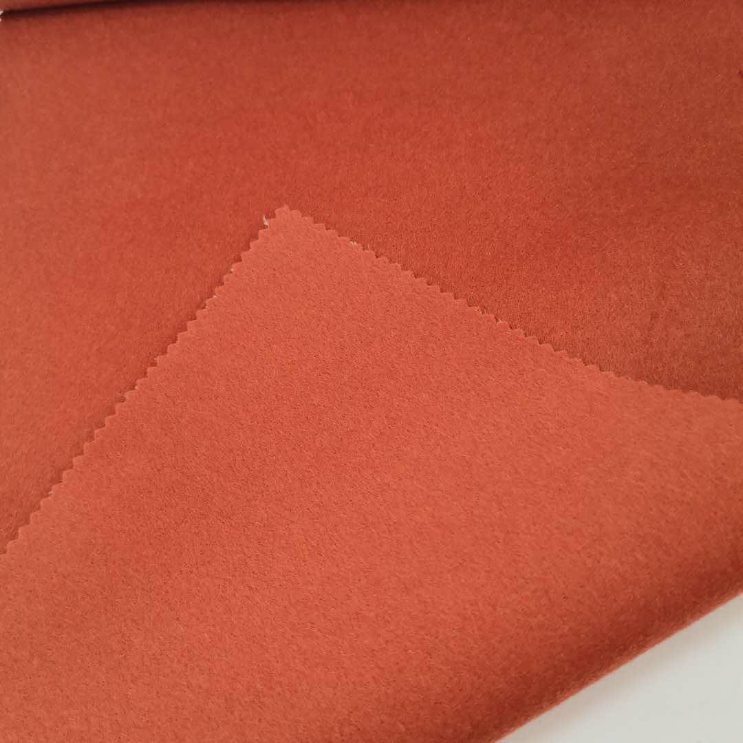 Высококачественная оранжевая двухсторонняя тканая 100% шерстяная ткань для зимнего костюма и одежды