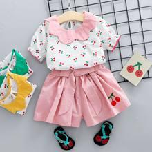 Комплект одежды для новорожденных девочек BibiCola, Красная футболка с цветочным принтом и синие шорты с цветочным принтом, лето 2020(Китай)