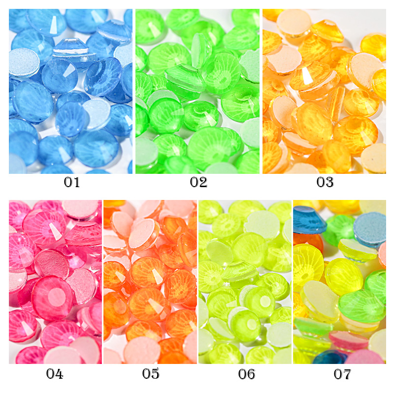 SZ1-7 3D 6 Grids Fluorescent Mixed Size Diamond Neon Crystal Nail Art Rhinestone