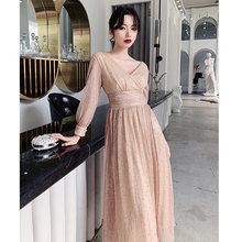 Женское платье трапециевидной формы It's Yiiya, платье с открытой спиной и v-образным вырезом, расшитое блестками, с длинными рукавами и рюшами, п...(Китай)