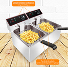 Stainless Steel Gas 8L 8L Commercial Stainless Steel Counter Top LPG Gas Deep Fryer With 2 Basket Fried Chicken Machine