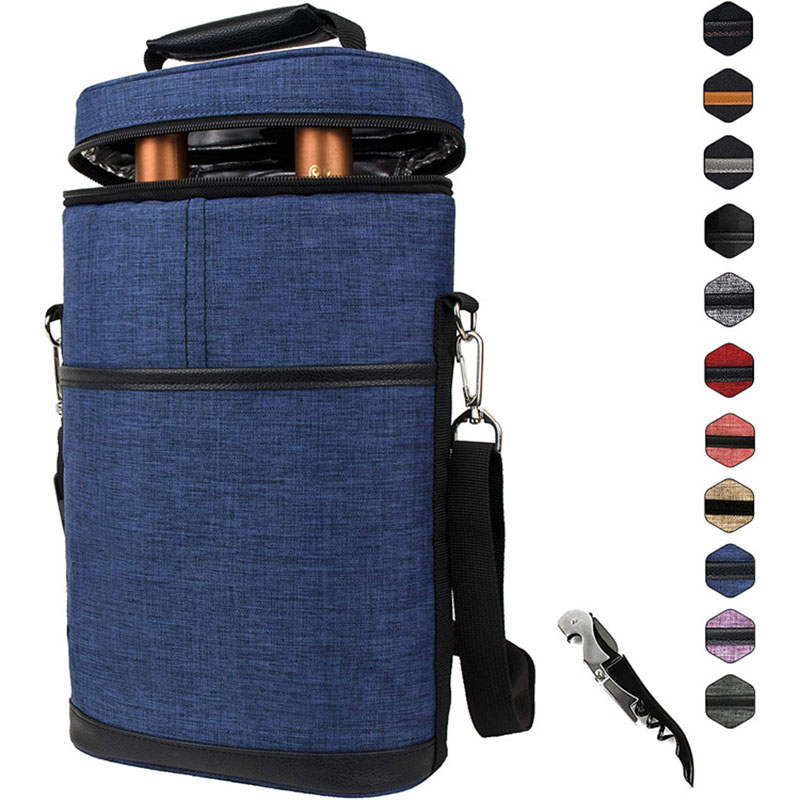 Picnic portable 2 Bottle insulated thermal Reusable waterproof ice Wine bottle cooler bag carrier Tote