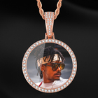 Hip Hop Bling Diamond Custom Photo Solid Diy Creative Photo Necklace Copper Inlaid Cubic Zirconia Pendant Necklace