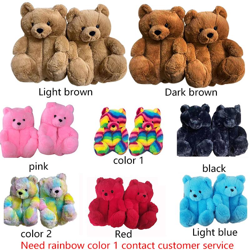 teddy bear slippers women 2021 new arrivals animal fluffy plush house slippers