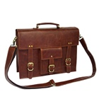 Customized Hard Leather Briefcase High End Vintage Leather Briefcase for Lawyer Personalized Business Laptop Bag
