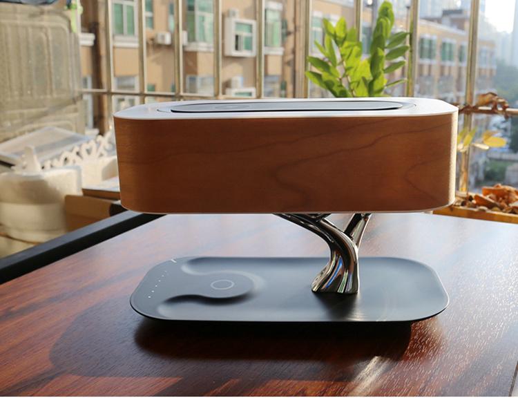 YJN5416 креативный смартфон с беспроводной зарядкой Bluetooth динамик для комнаты многофункциональная деревянная настольная лампа