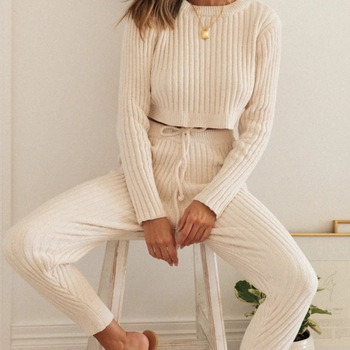 WomenAutum Rib Knitted Sweater Tracksuit Beige Pullovers & High Waist Pants Winter Knitted Party 2 Pieces Outfits Sweater Sets