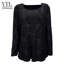YTL осенний женский винтажный гипюровый кружевной кардиган с v-образным вырезом и объемным цветочным рисунком, топ с длинными рукавами и цвет...(Китай)