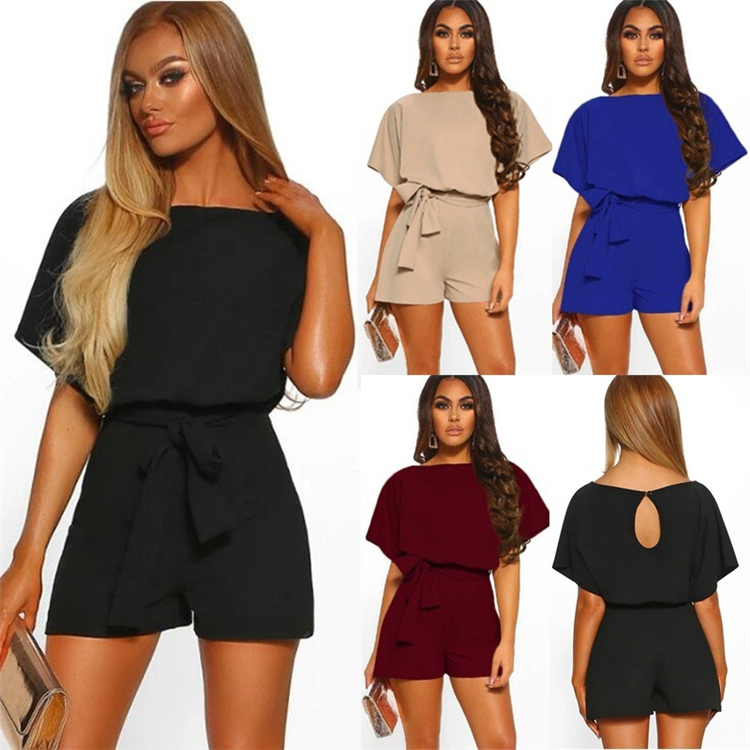 Hot Selling Women Summer Short Pants Casual Loose Rompers Solid Color Bodysuit