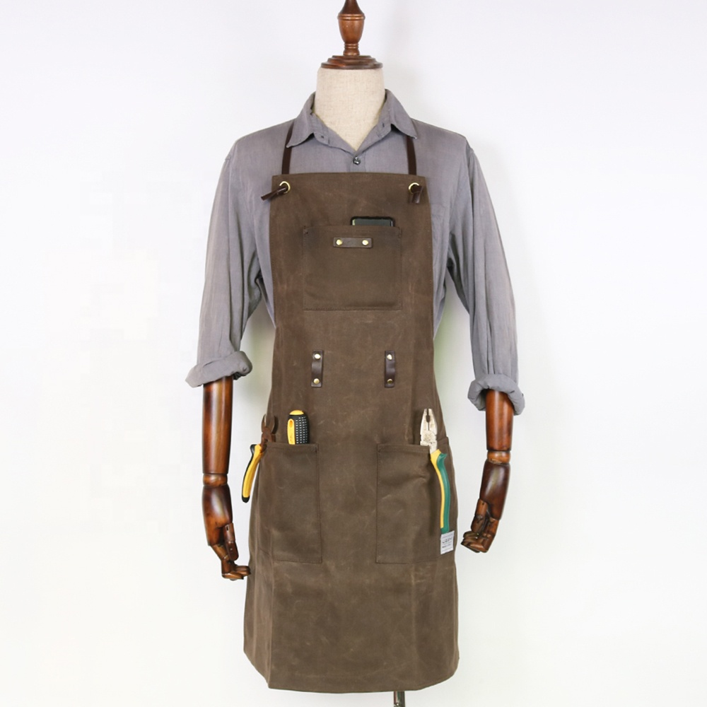 Utility Durable Heavy Duty Waxed Canvas Carpenter Work Aprons With ...