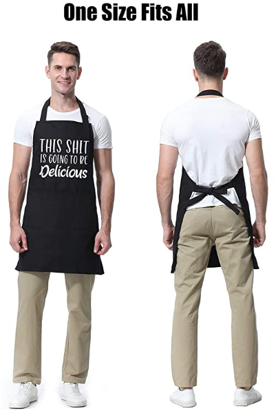 Funny Black Chef Aprons for Men Women with 3 Pockets Kitchen Cooking Apron