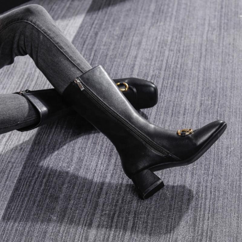 Женские кожаные сапоги до бедра, до середины бедра, на высоком каблуке