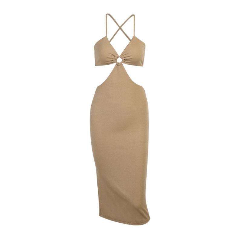 Women Dresses Elegant Long Sleeve V-neck Midi Dress with Side Split Solid Velvet Dress