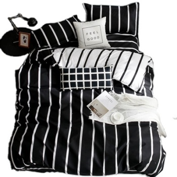 2.0m bed King Size Bed Comforter Set, Black and White Print Bedding Set